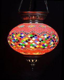 Turkse hanglamp rood multi ovaal - Sfeerverlichting Online