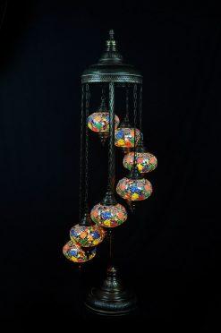 Turkse vloerlamp 7 bollen mozaïek all colours - Sfeerverlichting Online
