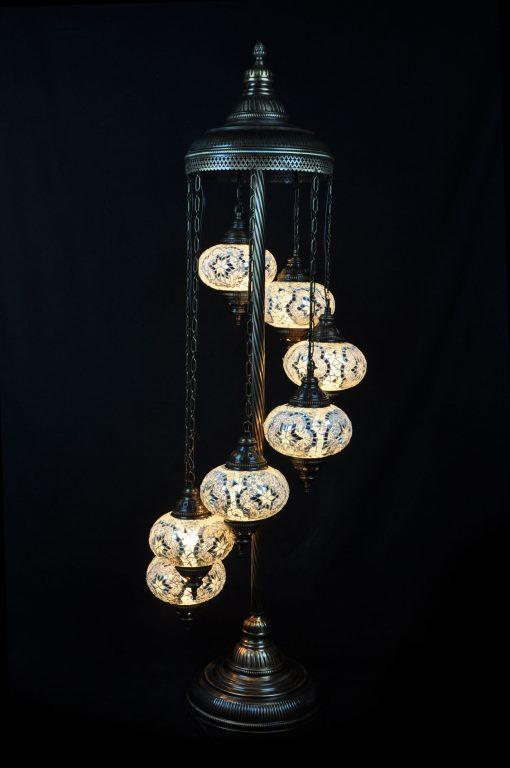 Vloerlamp 7 bollen mozaïek wit - Sfeerverlichting Online